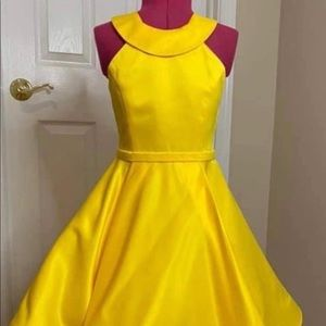 yellow interview pageant dress